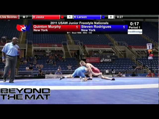 Junior Freestyle 135 - Steven Rodrigues (NY) vs. Quinton Murphy (NY)