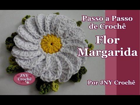 Passo a Passo Flor de Crochê Margarida por JNY Crochê