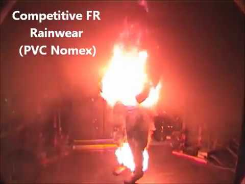 PVC Nomex Rainwear Flash Fire Test