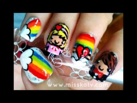 Kawaii Rainbow Couple Nails