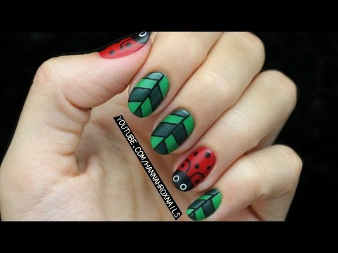 Ladybugs & Leaves Nail Art
