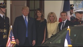 Macron Greeted by Trump at White House - VOAVIDEO