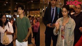 'Dhadak' Couple Ishaan Khatter & Janhvi Kapoor Spotted At Mumbai Airport - ZOOMDEKHO