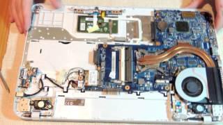 Как разобрать и почистить ноутбук Toshiba Satellite C850 (disassemble Toshiba Satellite C850)