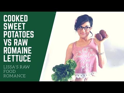 COOKED SWEET POTATO VS RAW ROMAINE LETTUCE || COMPARE || RAW FOOD VEGAN