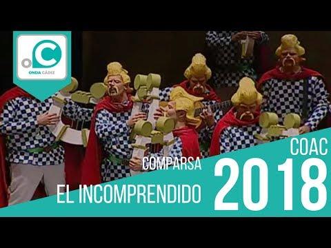 La agrupación El incomprendido llega al COAC 2018 en la modalidad de Comparsas. En años anteriores (2017) concursaron en el Teatro Falla como El huerto, consiguiendo una clasificación en el concurso de Preliminares.