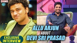 Allu Arjun About DSP | Allu Arjun & Pooja Hegde Exclusive Interview About DJ - ADITYAMUSIC