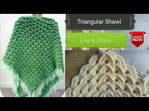 Crochet  Design #01# (HINDI) - How to Crochet triangle shawl !! (Poncho)