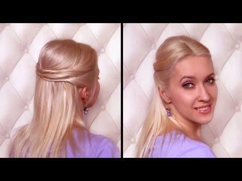 Elegant half up half down hairstyle for medium long hair tutorial Twisted half updo