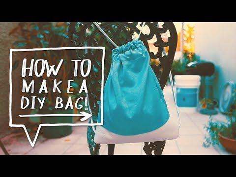 DIY Drawstring Bag | How to Make a Backpack (DIY Bolso de Tela)
