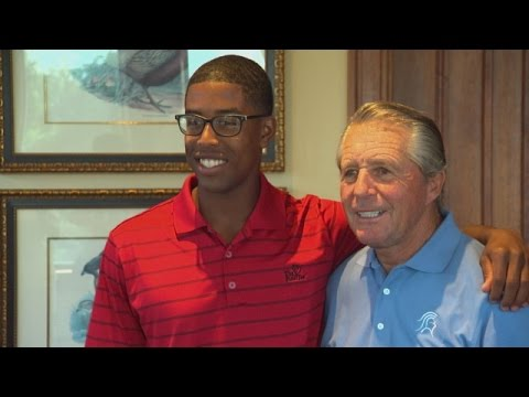 Gary Player and The First Tee participant Christopher Davis reunite at the 2014 3M Championship.