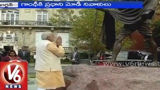 PM Modi pays tribute to the Gandhi in U.S.A - V6NEWSTELUGU
