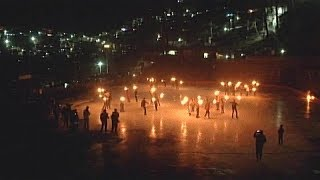 Watch: Ice skating under scintillating torch light in Shimla - TIMESOFINDIACHANNEL