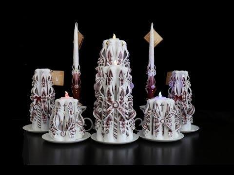 """Свадебные свечи """"Бордо"""" ручной работы."""