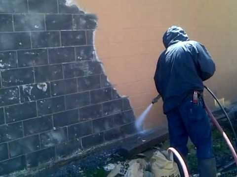 Sandblasting Brick to remove paint