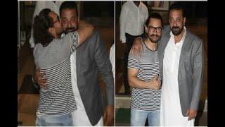 In Graphics: Aamir Khan attends sanjay dutt's diwali bash - ABPNEWSTV