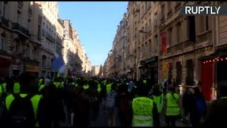 LIVE: Yellow Vest protesters march for 15th consecutive weekend - RUSSIATODAY