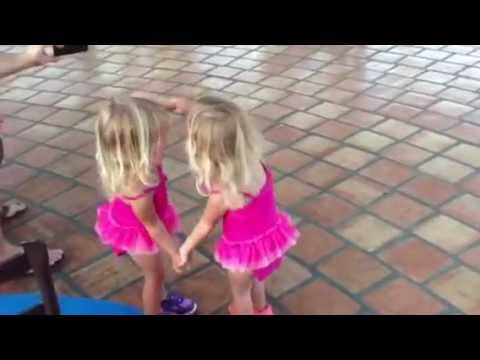 Toddler twins dancing