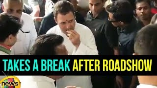 Rahul Gandhi Takes a Break After Roadshow in Bhopal, Madhya Pradesh | #RahulGandhiYatra | Mango News - MANGONEWS