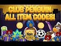 Club Penguin : All Unlockable Clothing Item, puffle hat, igloo item Codes!