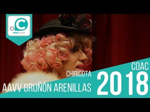 La agrupación AAVV Gruñón Arenillas llega al COAC 2018 en la modalidad de Chirigotas. En años anteriores (2017) concursaron en el Teatro Falla como El hombre que susurraba a las almohadas, consiguiendo una clasificación en el concurso de Cuartos de final.