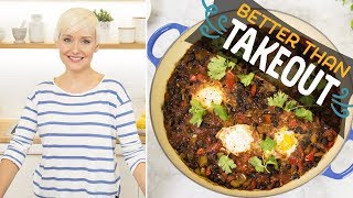 Spicy Black Bean Soup with Poached Eggs (with The Domestic Geek) | Food Network - FOODNETWORKTV