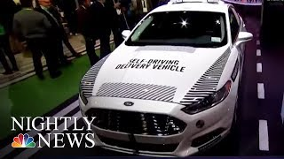 At CES we saw the self-driving pizza delivery cars of the future | NBC Nightly News - NBCNEWS