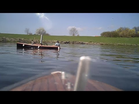 Scale RC steam boat - filmed from on-board video