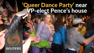 Gay rights activists dance in protest against VP-elect Pence - REUTERSVIDEO