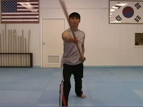 Martial Arts Bo Staff Techniques #1: Diagonal Strike from the Top (taekwonwoo)