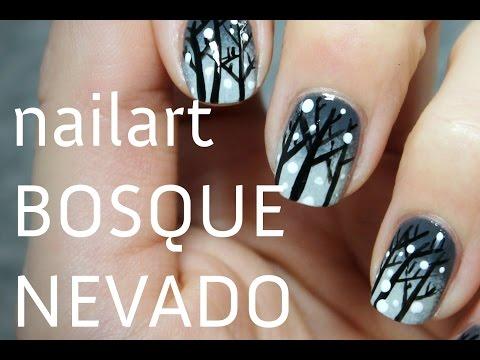 Lindas uñas decoradas con bosque nevado PASO A PASO