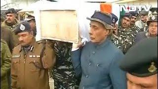 पुलवामा आतंकी हमला : गृह मंत्री राजनाथ सिंह ने शहीद को दिया कंधा - NDTVINDIA
