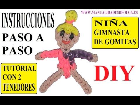 COMO HACER UNA NIÑA GIMNASTA DE GOMITAS (GYMNAST GIRL CHARM) CON DOS TENEDORES