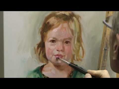 Learn how to paint a portrait, portrait painting demo by ben lustenhouwer