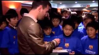 الأرجنتيني ميسي يستقبل أطفال اليابان في نادي برشلونة
