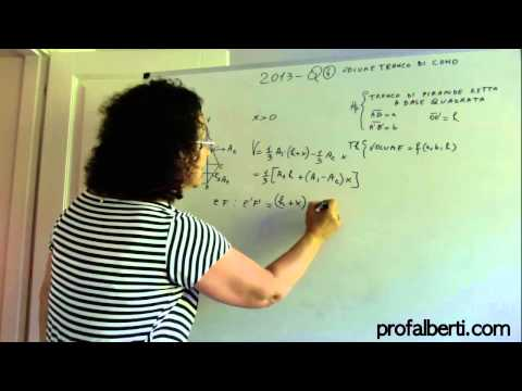 Esame di stato 2013-Q4-Volume tronco di piramide retta a base quadrata