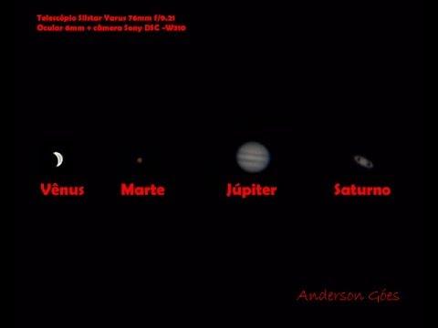 Vênus, Marte, Júpiter e Saturno vistos por um telescópio de 76mm