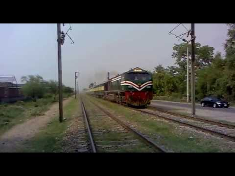 Pakistan Railways 304 Dn Business Express accelerating out of Lahore