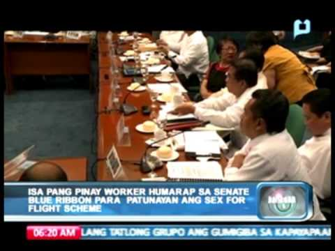 Pinay 'worker' humarap sa Senate Blue Ribbon Committee para patunayan ang 'sex-for-flight scheme'