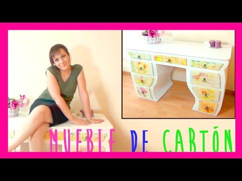 Como hacer un mueble tocador de cartón decorado con decoupage, manualidades baratas y recicladas
