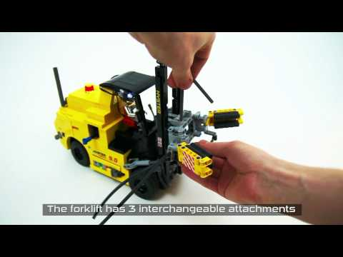 Lego Technic RC Hyster Forklift with pneumatic attachments