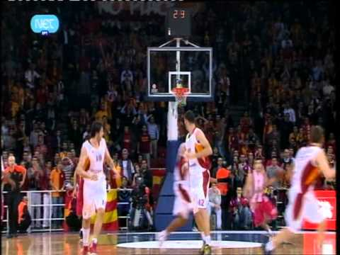Amazing 3-point shot by Kostas Sloukas (Olympiacos @ Galatasaray # Euroleague # 26/01/12)