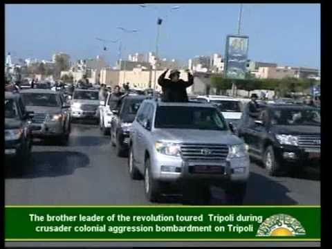 Gaddafi  Cruising the Streets of Tripoli, Libya 14 Apr 2011