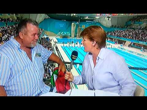 Chad Le Clos father Bert / Burt interview after son wins men's 200m butterfly final london 2012
