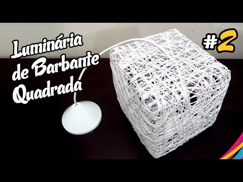 Luminaria de Barbante Quadrada / Twine Lampshade Square DIY #2