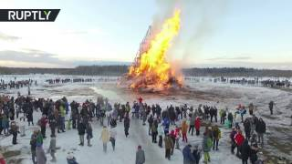 Drone captures massive sculpture burning at Maslenitsa party - RUSSIATODAY