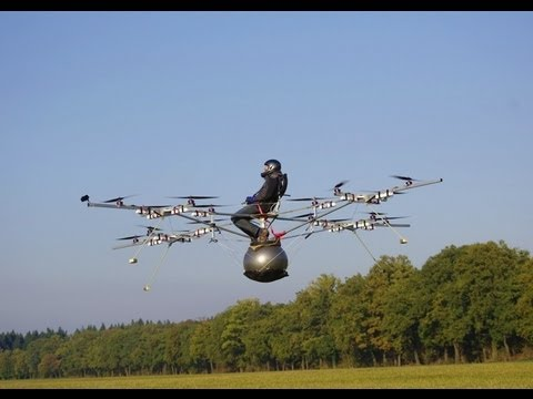 World's first manned flight with an electric multicopter