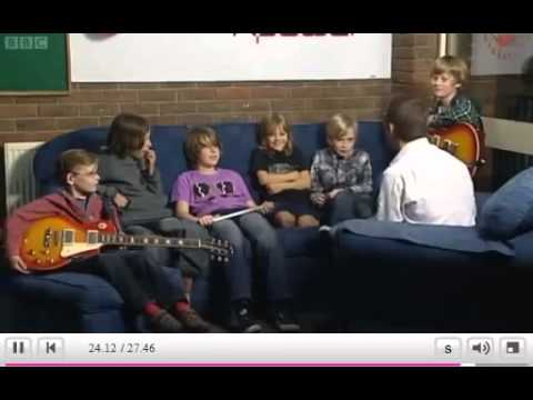 The Mini Band on BBC 1 TV, with Metallica sending their video message!
