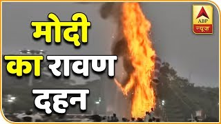 PM Narendra Modi burns effigy of Ravan during Dusherra celebrations in Lal Qila Maidan - ABPNEWSTV
