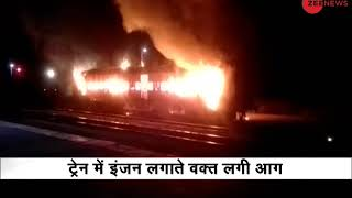 Mathura, UP: Truck catches fire on highway - ZEENEWS